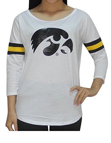 NCAA IOWA HAWKEYES Womens Athletic 3/4 Sleeve T-Shirt