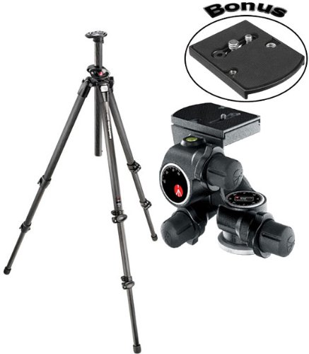 Manfrotto 055CXPRO3 Carbon Fiber Tripod with 410 Junior Geared Tripod Head with Quick Release and a Bonus Manfrotto 410PL