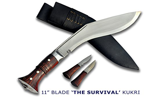 """Authentic Gurkha Kukri-12"""" blade Survival Khukuri- Carbon steel full tang blade, rosewood handle with lanyard hole, leather sheath(18"""" overall length)-"""