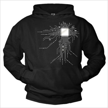Cool Hoodies for Men GEEK CPU Pullover black M