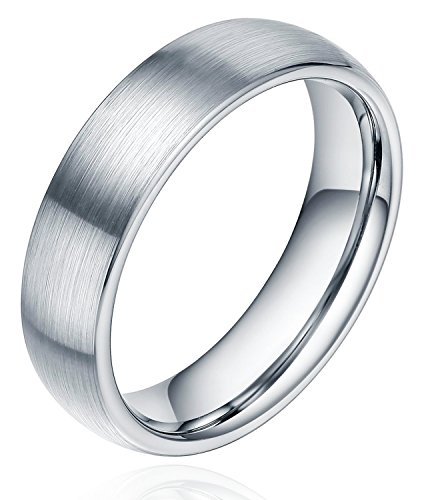 6mm Unisex Tungsten / Titanium Ring Brushed Dome Wedding Bands Comfort Fit Size 4-15 (Titanium, 9)
