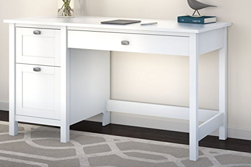 Bush Furniture Broadview Computer Desk with 2 Drawer Pedestal, Pure White (Pedestal For Desk compare prices)