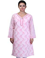 Ethnic Exclusive Hand Crafted Lucknow Chikan Designer Pink Long Kurti By Ada A76612