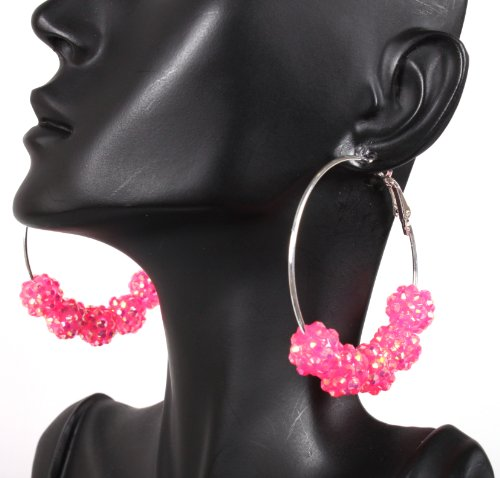 Fuchsia Basketball Wives Hoop Earrings with 5 Iced Out Disco Balls Poparazzi