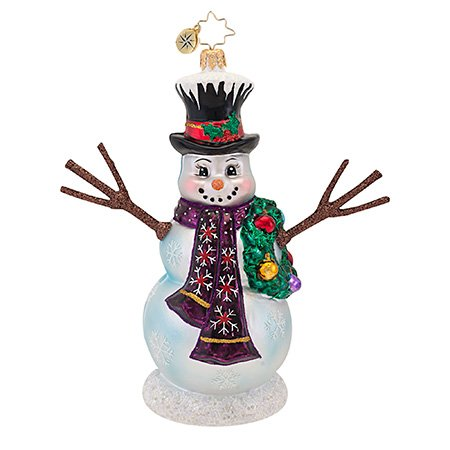 Christopher Radko Glass In the Meadow Snowman with Wreath Christmas Ornament #1016794