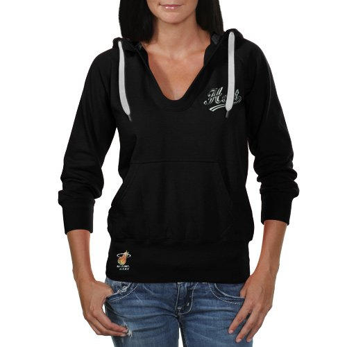 NBA Touch by Alyssa Milano Miami Heat Ladies In the Bleachers Pullover Hoodie Sweatshirt - Black (Medium) at Amazon.com