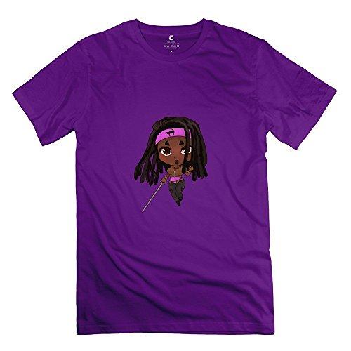 StaBe Man Walking Dead Michonne T-Shirt Unique Geek S Purple