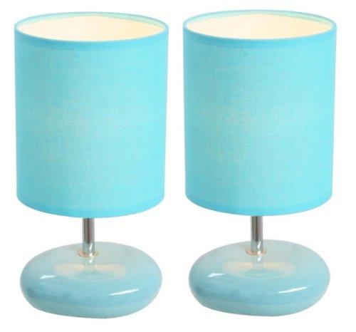 Simple Designs Stonies Blue Small Stone Look Lamp - 2 Pack