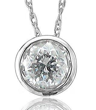14k White Gold Solitaire Diamond Pendant Necklace 0.50 carat