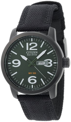 Citizen Men's BM8475-00X Eco-Drive Military Black Plated Steel Canvas Strap Watch