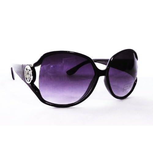 レディース ファッション サングラス ビッグフレーム サイドカット グラデーションレンズ UV400 (ブラック069)