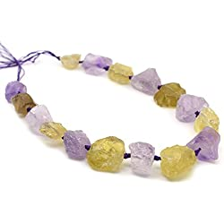 Natural Light Amethyst & Lemon Quartz Crystal Nugget Raw Graduated Beads Strand 2mm Hole Drilled