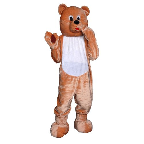 Dress Up America Teddy Bear Mascot, Light Brown, One Size – Adult