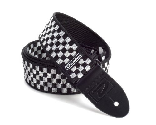 Dunlop D3831Bk Black And White Checkered Guitar Strap