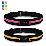 [2 Pack] Kamor superior water resistant Running Belts / Runners Belt / Race Belt with 4CM high elastics and 3M...