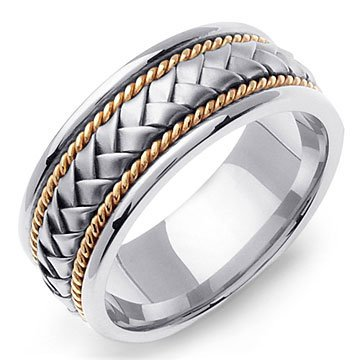 HYGINOS 14K TwoTone Gold Braided Wedding Band Ring