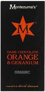 Montezuma's Organic Dark Chocolate Orange and Geranium 100g (Pack of 4)