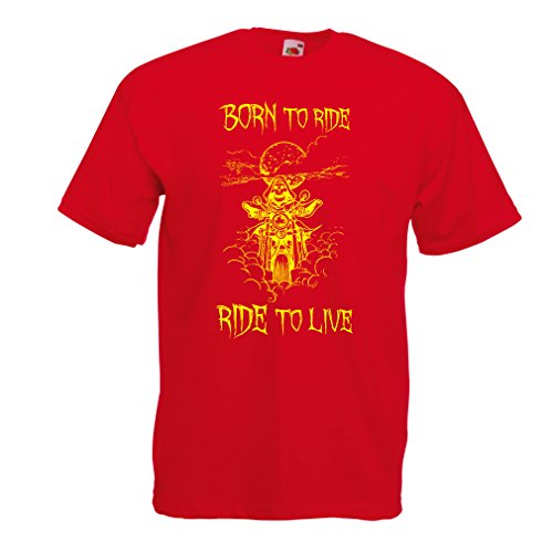 N4690 T-shirt da uomo Born To Ride! motorcycle clothing (Large Rosso Multicolore)