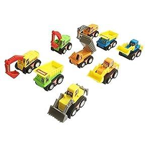 Mini Push Pull Back Car Model Kit Set Plastic 9 Pcs Play Vehicle Construction Excavator Dump Truck Playset Preschool Learning for Children Toddlers Kids Birthday Gift from Yi Da Toys