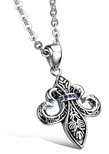 """Ostan - """"Sage Forever"""" 316L acciaio inossidabile gotico vintage gotico gufo spada catenina con pendente da uomo - nuovo gioielli moda, argento e nero"""