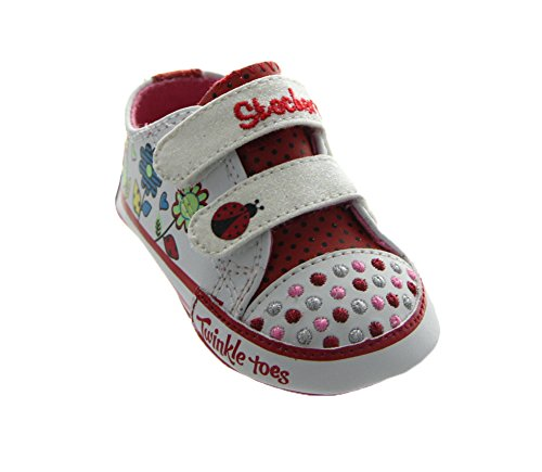 Skechers Infant/Toddler Girls' Twinkle Toes Baby Sparks Lil Ladys,White/Red,Us 4