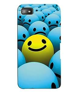Fuson 3D Printed Smiley Designer Back Case Cover for Blackberry Z10 - D948