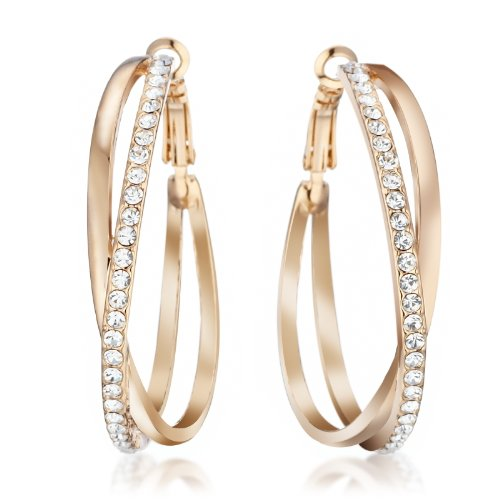 mymoment 18K GOLD 2.8Ct Diamonds Round Hoop Wedding Party Pierced Earring 1.8″
