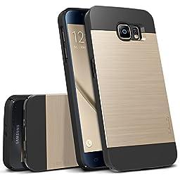 Galaxy S6 Case, OBLIQ [Slim Meta][Gold Platinum] Thin Bumper Fit Armor Scratch Resist Metallic Finish Dual Layered Heavy Duty Hard Protection Hybrid High Quality Case (for Samsung Galaxy S6)
