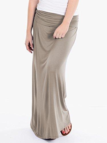 Hybrid & Company - Women's Maxi Skirt W/ Fold Over Waist Band - Made in the USA, Stone, Medium