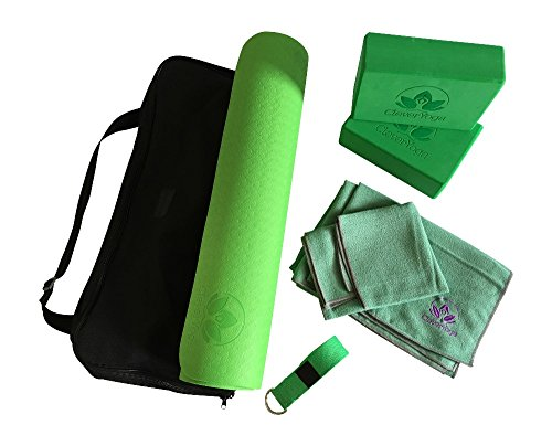 Clever Yoga Kit 7-Piece Set Bundle Including Ultra Thick 6mm TPE Mat, 2 Blocks, 8 Foot Yoga Strap, 1 Hand Towel, 1 Large Mat Towel and Extra Large Carrying Bag (Green) (Basic Safety Harness compare prices)