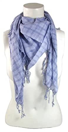 BB Accessories Lilac Check Fabric Square Tassel Scarf with Silver Thread