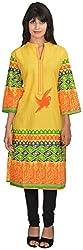 Goodyygoods Women's Cotton Regular Fit Kurti (GG 20, Yellow, Large)