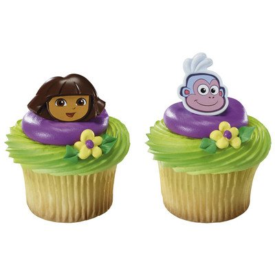 Dora the Explorer and Boots Cupcake Rings - 24 pcs