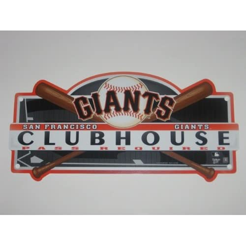 SAN FRANCISCO GIANTS 19 x 8 Plastic CLUBHOUSE LOCKER ROOM SIGN with Team Colors & Logo