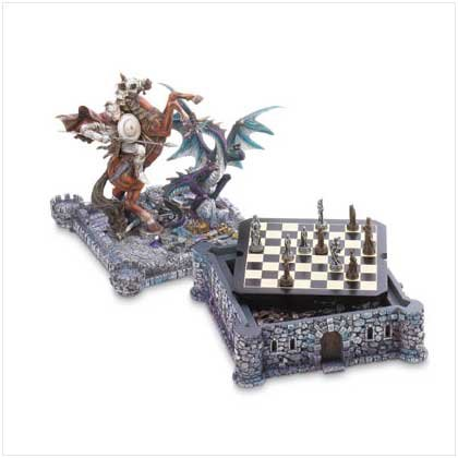 Dragon And Knight Medieval Chess Set