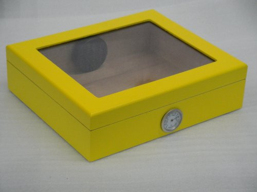 Humidor hold 20 cigars yellow glass top Hygrometer readable from the outside