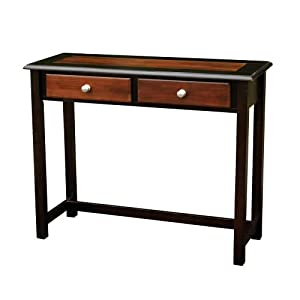 Walnut Furniture of America Enitial Lab Marc 2-Piece Modern Vanity and Storage Stool Set