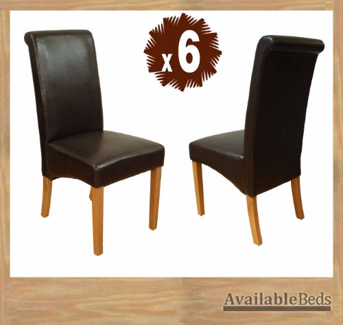 Milano Scroll Back Faux Leather Dining Room Chair - BROWN X6