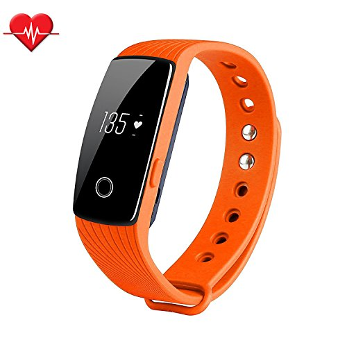 Fitness Tracker & Heart Rate Monitor, ID107 Bracelet Pedometer Watches Sleep Monitor Life Waterproof Fitness Band Wristband for Android iOS Phones, orange