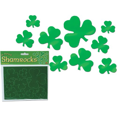 Pkgd Foil Shamrock Cutouts Party Accessory (1 count) (40/Pkg)
