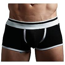 "XUBA Mens Low Rise Sexy Underwear Trunk Boxer Brief Black XB01 (Medium(28-30""))"
