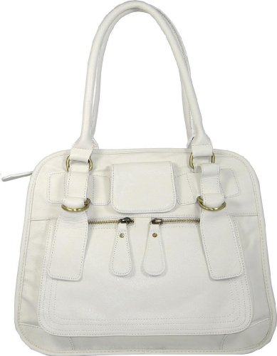 Ladies White Faux Leather Designer Fashion Handbag
