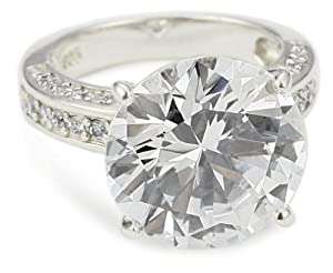 """CZ by Kenneth Jay Lane """"Trend Cubic Zirconia"""" Rhodium-Plated Overstated Round Cocktail Ring, Size 7"""