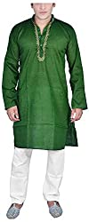 Govind Chikan Men's Cotton Kurta Pyjama (Set Rangila Green_XL, Green, XL)