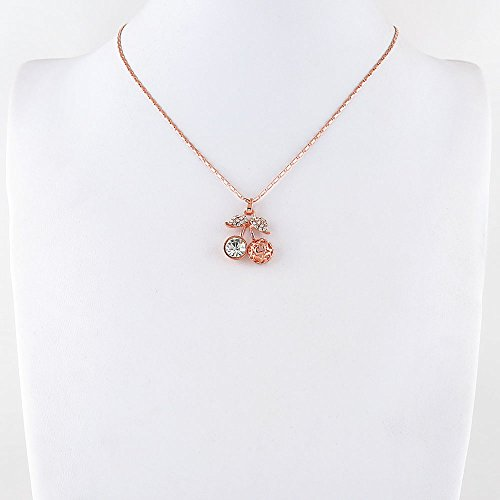 2 x Necklace Pendent Fashion Jewelry Making Charms Costume Sweater Long Chain Collar 40742 White Crystal Cherry Hollow