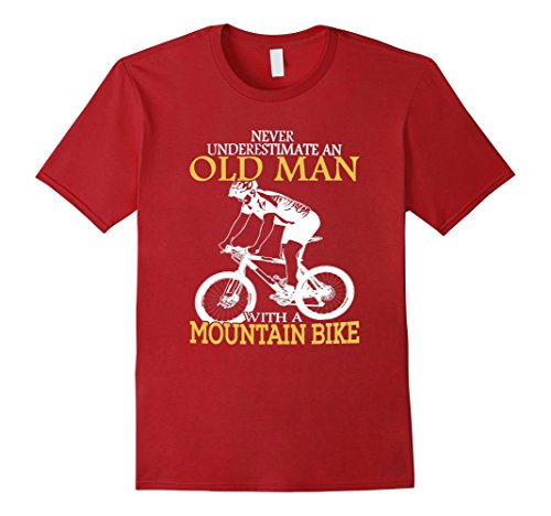 Men's Old Man With A Mountain Bike T Shirt mountain bikes for men XL Cranberry (Old Cycling Jersey compare prices)