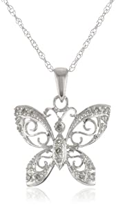 14k White Gold Diamond Butterfly Pendant Necklace (0.10 cttw, I-J Color, I2-I3 Clarity), 17