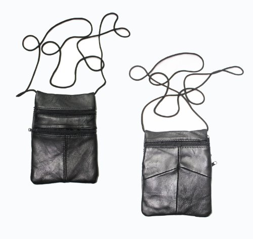 Mens / Womens Leather Neck Purse Pouch Travel