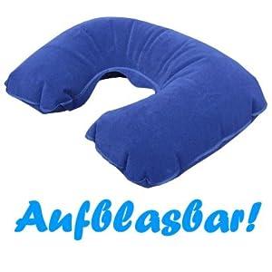 aufblasbares Nackenkissen in Blau PVC