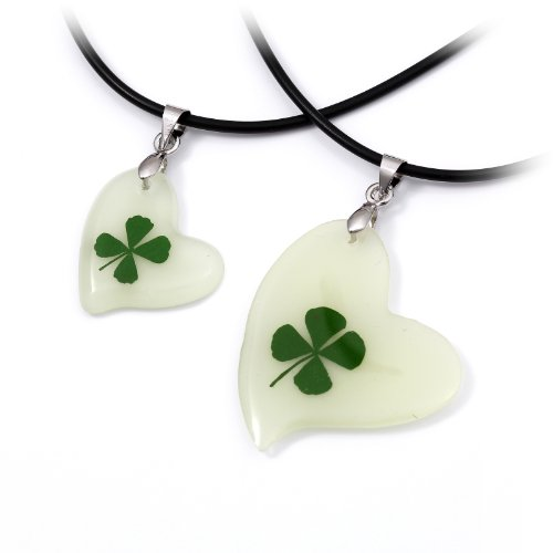 Tungsten Love Lucky Luminous Four Leaf Clover Pendant Heart Shape Amber Necklace Set for Couple (one pair)